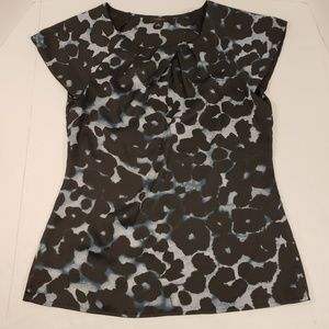 Ann Taylor Animal Print Cap Sleeve Blouse, Size 4